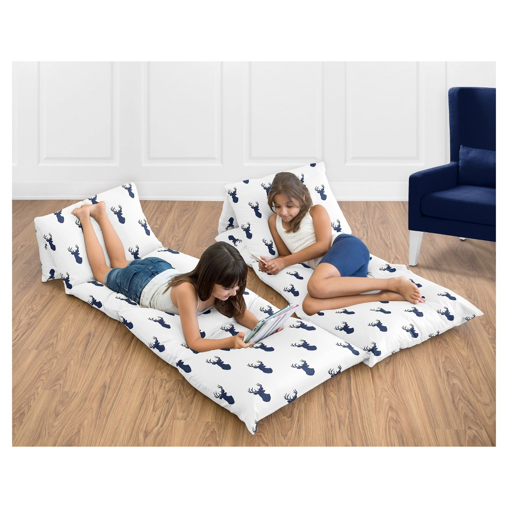 Navy & White Woodland Deer Floor Pillow Lounger Cover (Pillows Not Included) - Sweet Jojo Designs