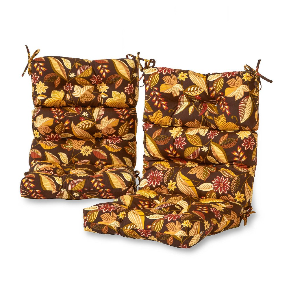 Image of 2pc Outdoor High Back Chair Cushion Timberland Floral - Kensington Garden