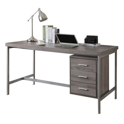 """Monarch Specialties 60"""" Contemporary Office Computer Desk w/ Drawers, Dark Taupe - image 1 of 4"""