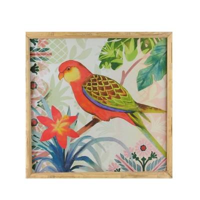 "Raz Imports 14"" Red and Green Love Bird Decorative Wooden Framed Print Wall Art"