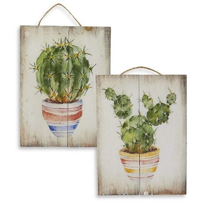 Juvale Wooden Wall Ornament - 2-Piece Small Hanging Decorations Cactus Design, Natural Decor Living Room, Hallway Dining Room, 8 x 5.9 x 0.9 inches
