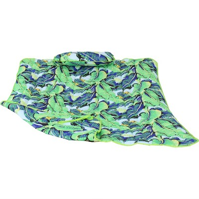 Cotton Quilted Hammock Pad and Pillow - Exotic Foliage - Sunnydaze Decor