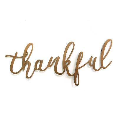 """""""Thankful"""" Script Wall Decor Bronze - Stratton Home Décor"""