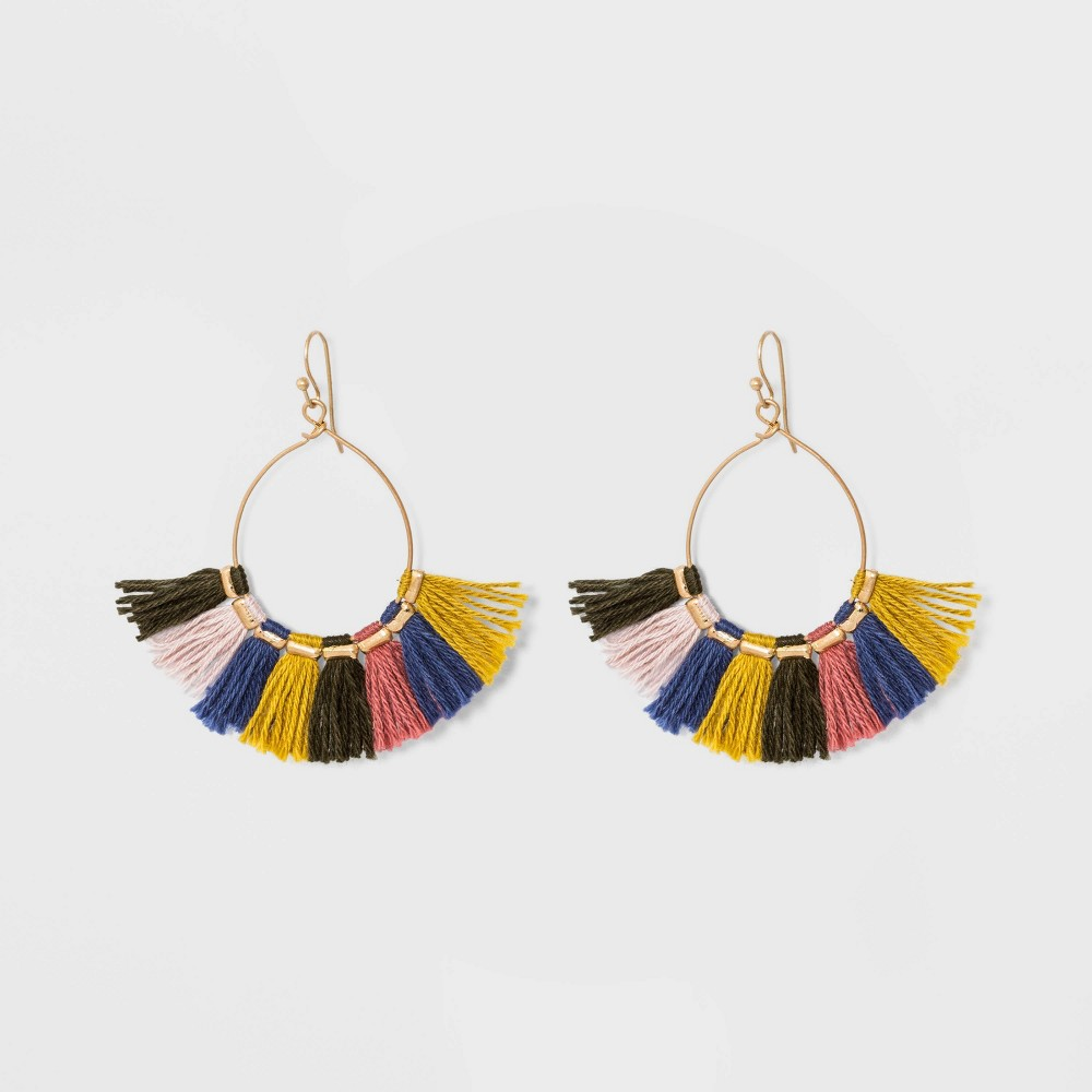Drop Open Wire Teardrop with Tassel Earrings - Universal Thread, Multi-Colored