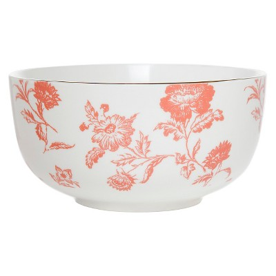Clay Art Bowl 6in Porcelain - Coral Floral