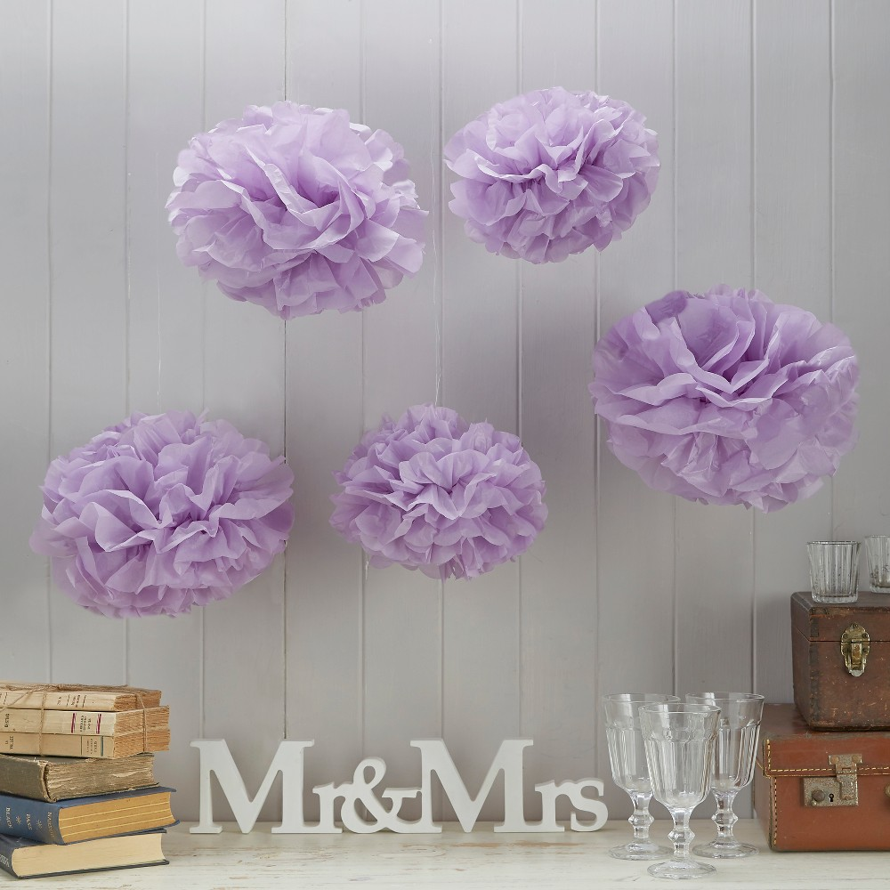 5ct Ginger Ray Purple Vintage Lace Tissue Paper Pom Poms