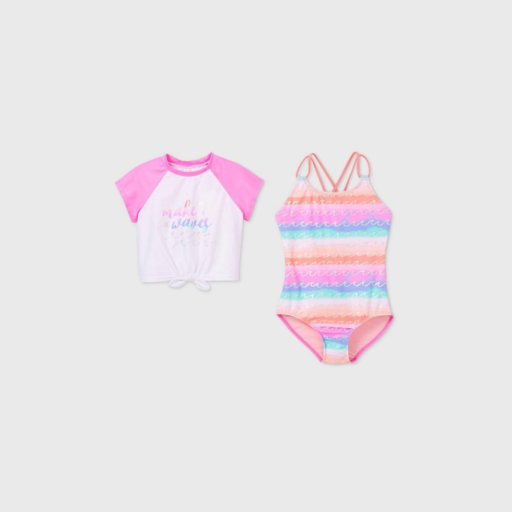 Girls 39 Wave Print 2pc One Piece Swimsuit Set Cat 38 Jack 8482 Pink S