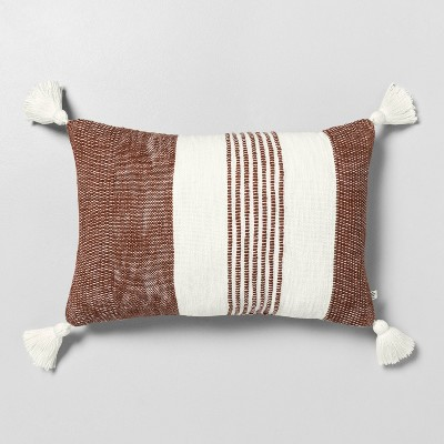 "14"" x 20"" Center Stripe Tassel Throw Pillow Pumpkin Brown / Sour Cream - Hearth & Hand™ with Magnolia"