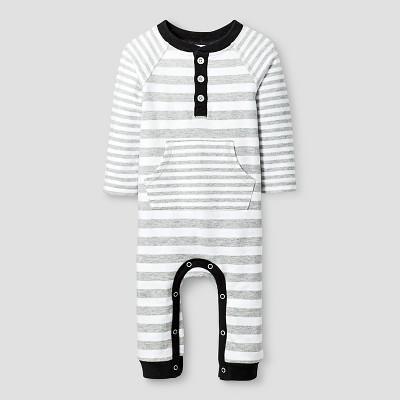 Baby Boys' Long Sleeve Stripe Romper Cat & Jack™ - White/Black 3-6M