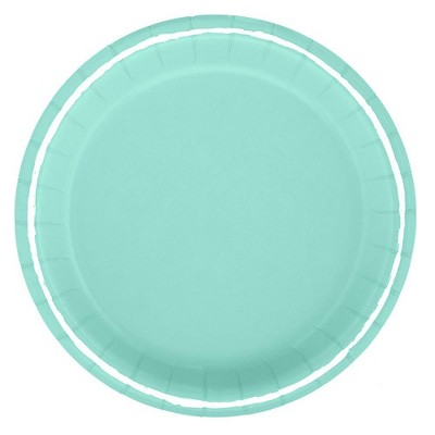 """8.5"""" 20ct Solid Dinner Paper Plates Turquoise - Spritz™"""