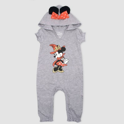 Baby Girls' Disney Mickey Mouse & Friends Minnie Mouse Halloween Hooded Romper - Gray 3M