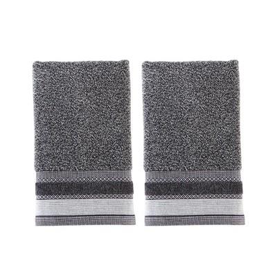 "Saturday Knight Ltd Geo Jacquard Design 2-Piece Bath Hand Towel Set - 16x26"" Slate"