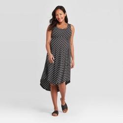 Maternity Striped Sleeveless Knit Bias Midi Dress - Isabel Maternity by Ingrid & Isabel™ Black/White