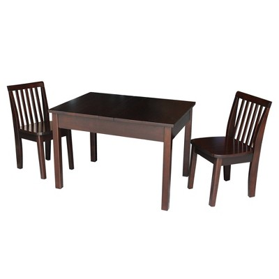 Kids' Table with 2 Mission Juvenile Chairs Rich Mocha - International Concepts