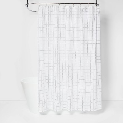 Yarn Dyed Window Pane Woven Shower Curtain White - Project 62™