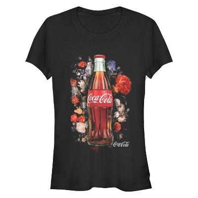 Junior's Coca Cola Bottle Floral Print T-Shirt