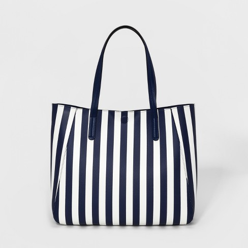 Striped Small Reversible Tote Handbag - A New Day™ Navy - image 1 of 3