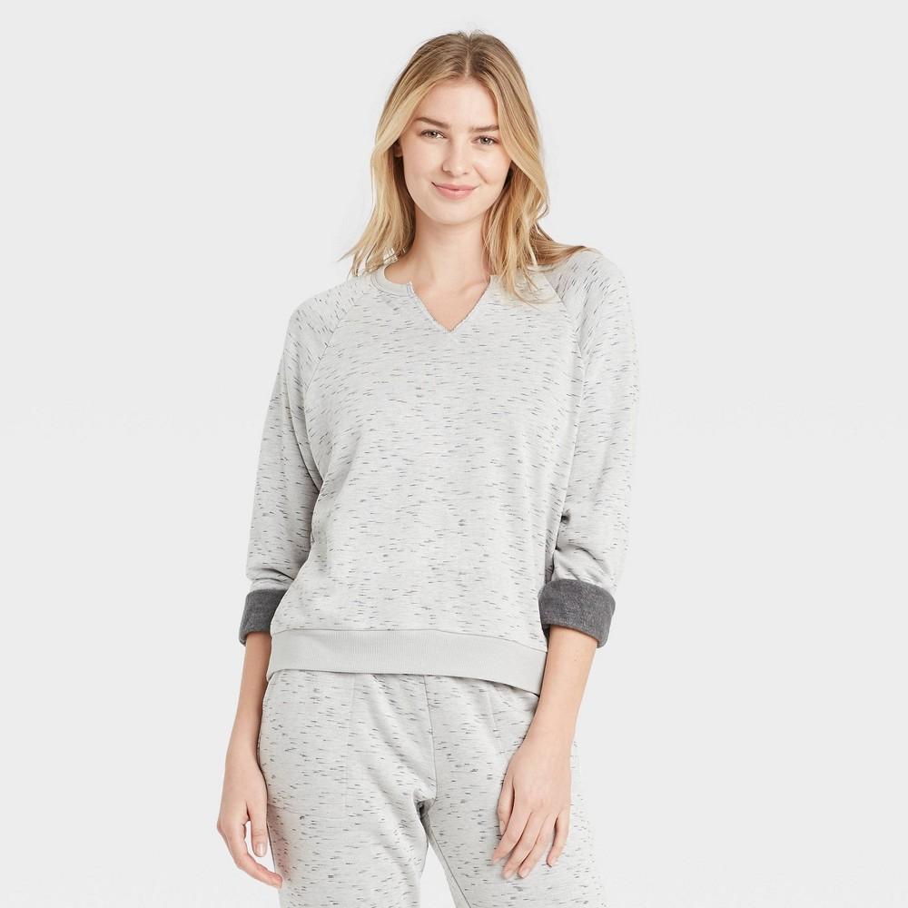 Women 39 S Two Toned Fleece Lounge Sweatshirt Stars Above 8482 Gray Xl