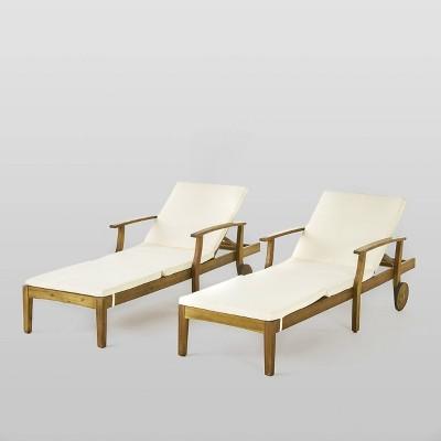 Perla 2pk Acacia Wood Chaise Lounge - Teak/Cream - Christopher Knight Home