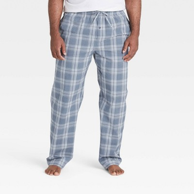 Men's Big & Tall Plaid Poplin Pajama Pants - Goodfellow & Co™ Dusty Blue