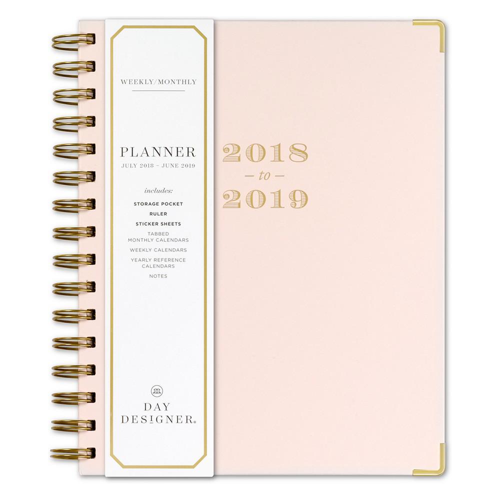 2018 - 2019 Academic Spiral Day Designer Monthly Weekly Planner - Blush, Blushing