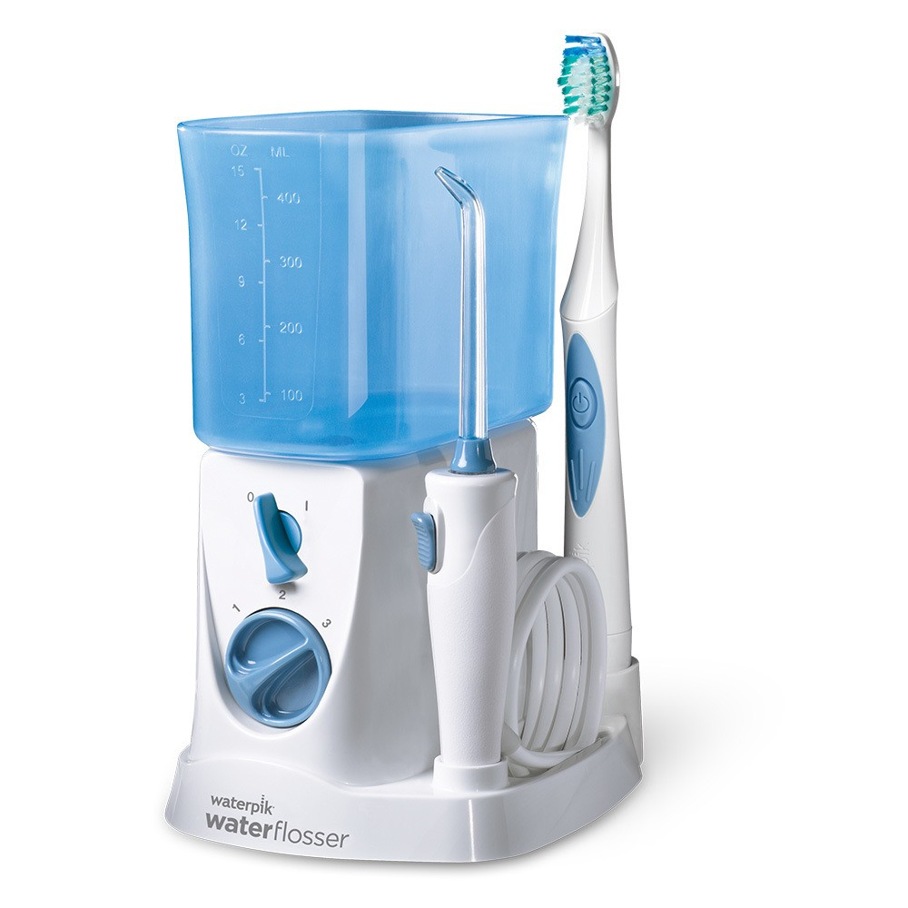 Waterpik 2-in-1 Water Flosser and Sonic Toothbrush - WP-700W, White