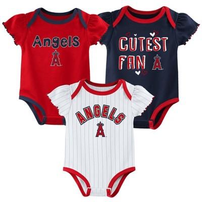 MLB Los Angeles Angels Baby Girls' 3pk Bodysuit Set