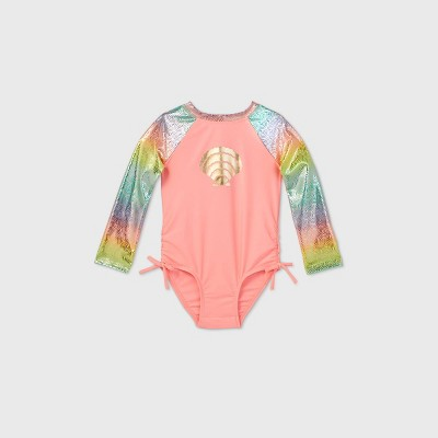 Toddler Girls' Mermaid Scale Long Sleeve One Piece Swimsuit - Cat & Jack™ Coral