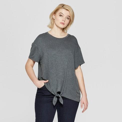 0ccb0b12d6f Women s Plus Size Short Sleeve Tie Front T-Shirt - Ava   Viv™ Dark Heather  Gray