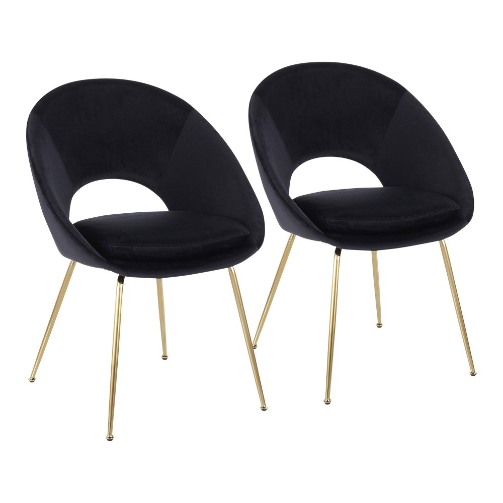 Set Of 2 Metro Contemporary Dining Chairs Gold Black Lumisource