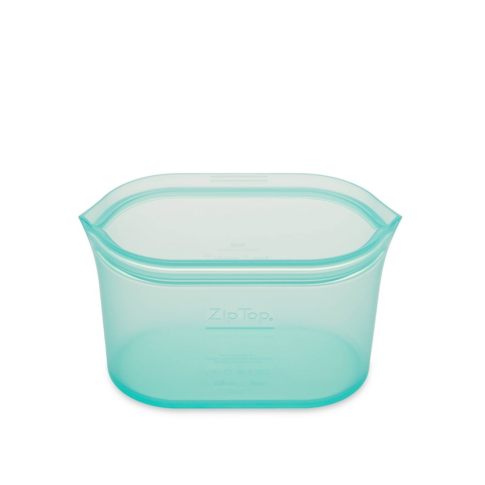 Image of Zip Top 16oz Reusable 100% Platinum Silicone Container - Small Dish - Teal