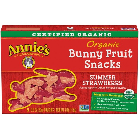 Annie's Homegrown Organic Bunny Summer Strawberry Fruit Snacks - 5ct - image 1 of 4