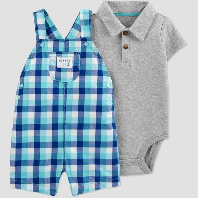 Baby Boys' 2pc Plaid Shortall Set - Just One You® made by carter's Blue Newborn