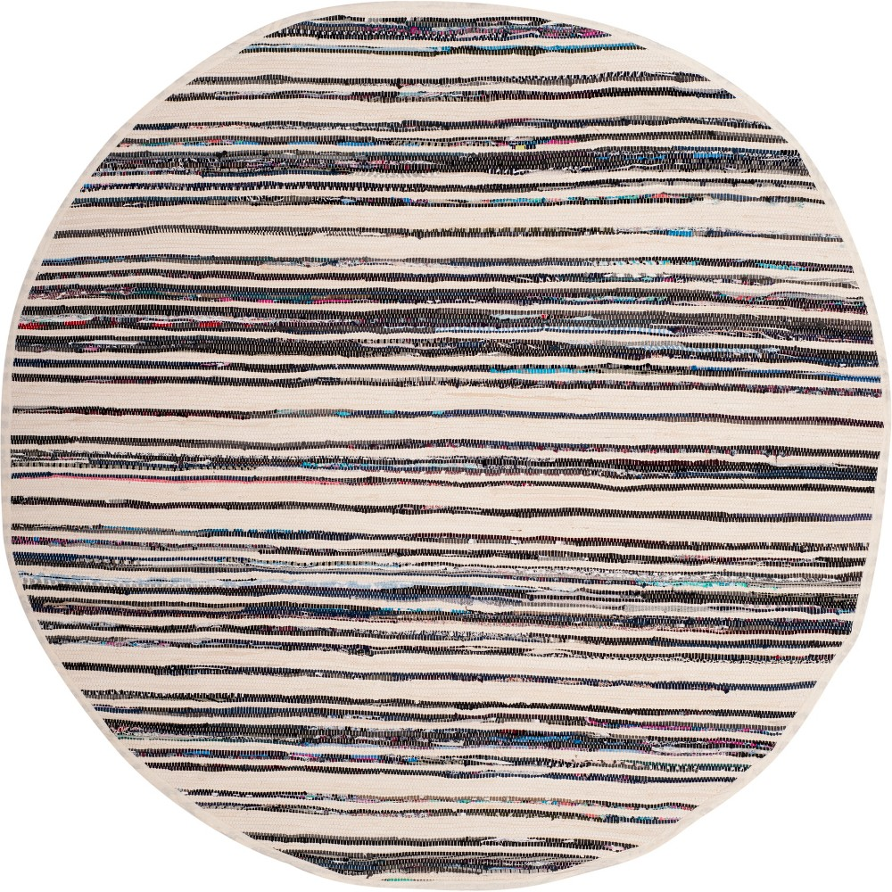 6' Stripe Woven Round Area Rug Ivory/Charcoal (Ivory/Grey) - Safavieh