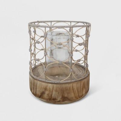 13  Outdoor Lantern Wood & Woven - Opalhouse™