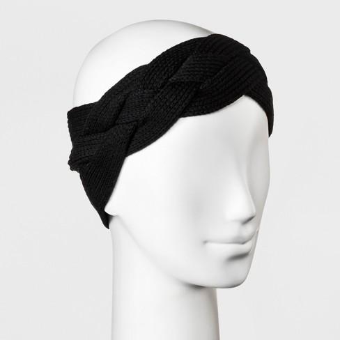Women s Knit Braided Outerwear Headband - A New Day™ Black   Target 31125513721