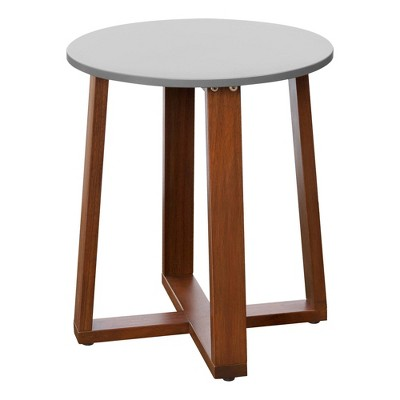 Outdoor Solid Eucalyptus Wood Patio Side Table with Superstone Top - Gray - Teamson Home