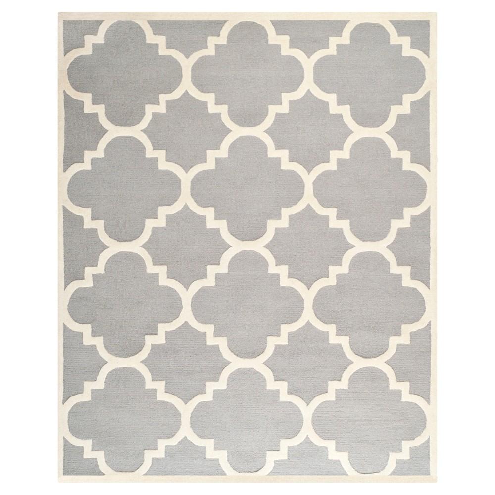 Landon Texture Wool Rug - Silver / Ivory (11' X 15') - Safavieh, Silver/Ivory