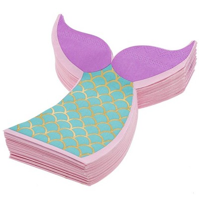 """Juvale 50-Pack Mermaid Tail Die-Cut Disposable Paper Napkins 5"""" with Gold Foil, Birthday Party Supplies"""