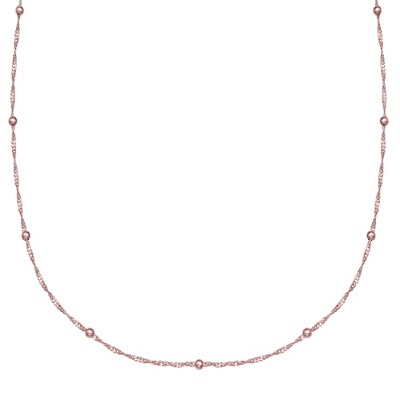 """Women's Diamond Cut Singapore Station Necklace with Ball Stations in Rose Gold Over Sterling Silver - Rose (18"""")"""
