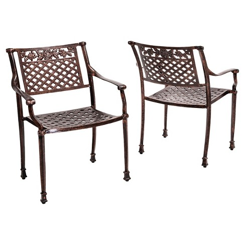 Sebastian Set of 2 Cast Aluminum Patio Chairs - Shiny copper - Christopher Knight Home - image 1 of 4