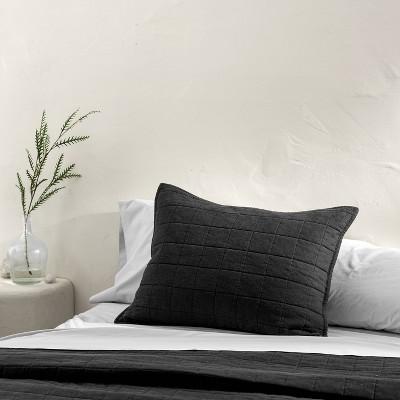 Standard Heavyweight Linen Blend Quilted Pillow Sham Washed Black - Casaluna™