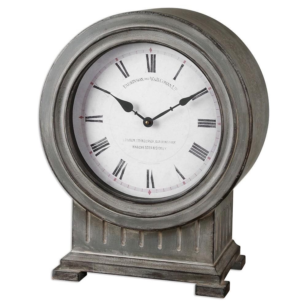 Image of Chouteau Mantel Clock Antique Gray - Uttermost