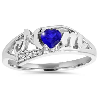Pompeii3 5/8ct Blue Heart Sapphire & Diamond MOM Ring 10K White Gold