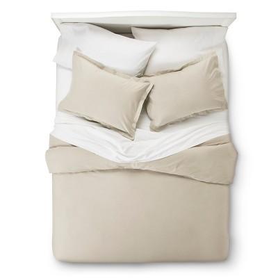 Ivory 400 Thread Count Hemstitch Solid Duvet Cover Set Full/Queen 3pc - Elite Home Products