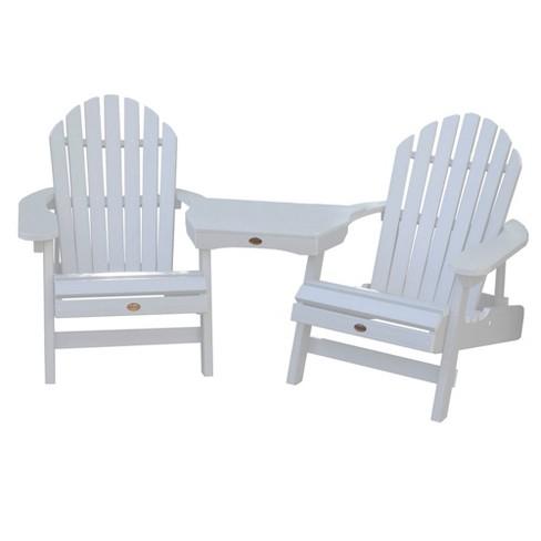 Hamilton 2pk Folding & Reclining Adirondack Chairs with 1 Adirondack Tete - A - Tete Connecting Table White - Highwood - image 1 of 3