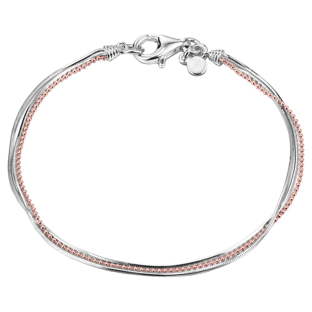 """Image of """"14k Rose Gold Plated Sterling Silver 2-Tone Layered Bracelet, 7.5"""""""", Women's, Pink Silver"""""""