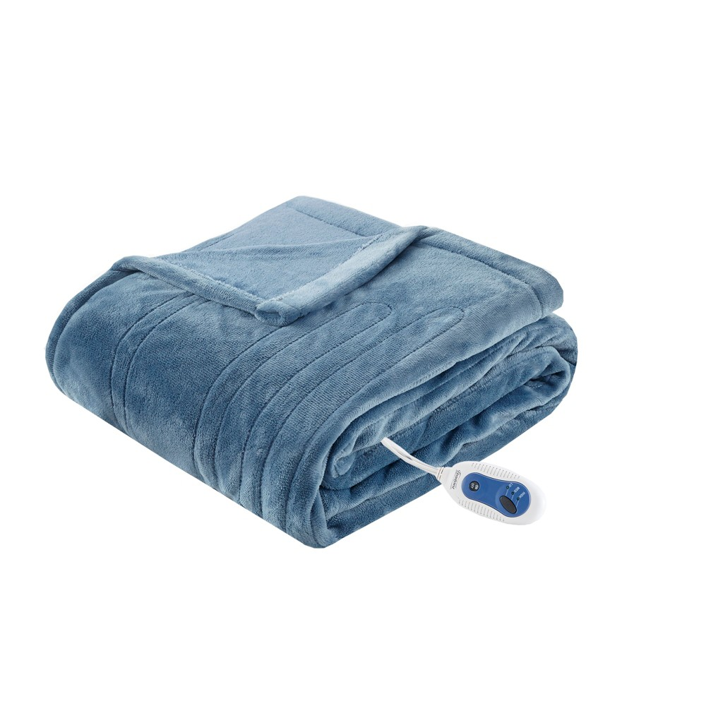 "Image of ""Electric Plush Throw (60""""x70"""") Sapphire Blue - Beautyrest"""