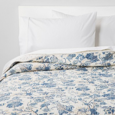 Full/Queen Printed and Washed Voile Quilt Blue Floral - Threshold™