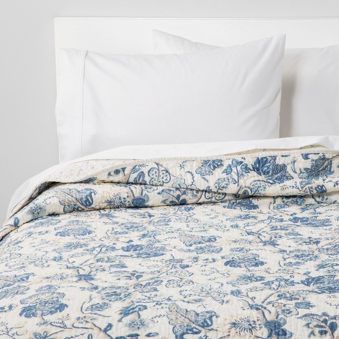 Printed and Washed Voile Quilt Blue Floral - Threshold™ - image 1 of 5